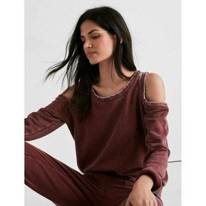 LUCKY BRAND XS Cranberry Grommet Cold Shoulder Top